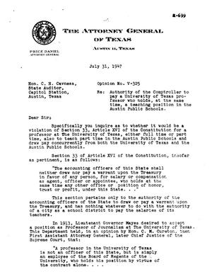 Primary view of object titled 'Texas Attorney General Opinion: V-325'.
