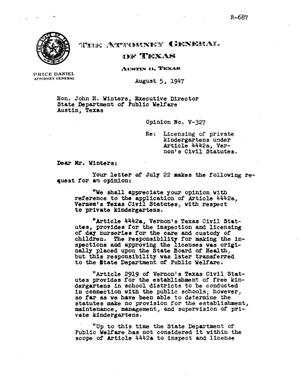 Primary view of object titled 'Texas Attorney General Opinion: V-327'.