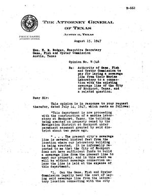 Primary view of object titled 'Texas Attorney General Opinion: V-346'.