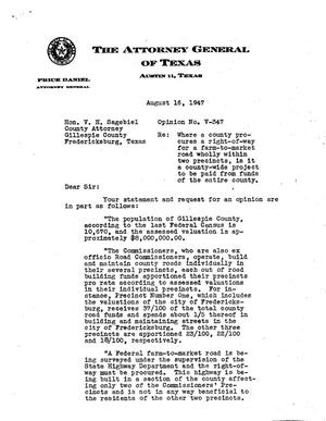 Primary view of object titled 'Texas Attorney General Opinion: V-347'.