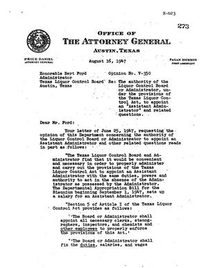 Primary view of object titled 'Texas Attorney General Opinion: V-350'.
