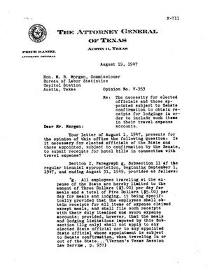Primary view of object titled 'Texas Attorney General Opinion: V-353'.