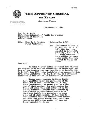 Primary view of object titled 'Texas Attorney General Opinion: V-363'.