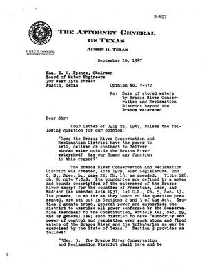 Primary view of object titled 'Texas Attorney General Opinion: V-372'.
