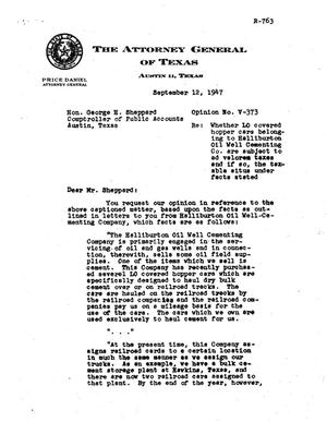 Primary view of object titled 'Texas Attorney General Opinion: V-373'.