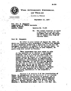 Primary view of object titled 'Texas Attorney General Opinion: V-374'.