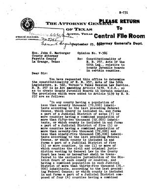 Primary view of object titled 'Texas Attorney General Opinion: V-386'.