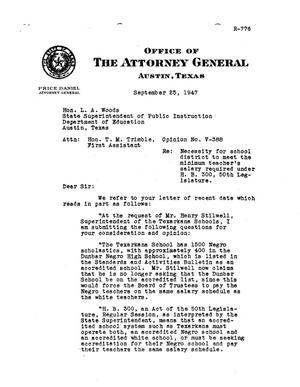 Primary view of object titled 'Texas Attorney General Opinion: V-388'.
