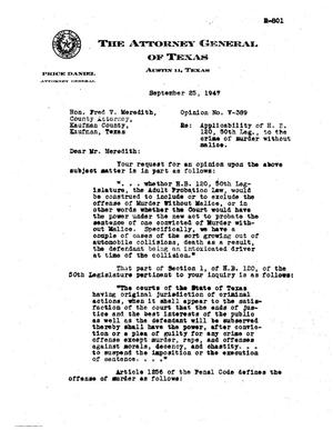 Primary view of object titled 'Texas Attorney General Opinion: V-389'.