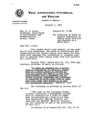 Primary view of object titled 'Texas Attorney General Opinion: V-392'.