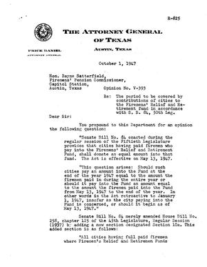 Primary view of object titled 'Texas Attorney General Opinion: V-393'.