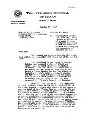 Primary view of object titled 'Texas Attorney General Opinion: V-408'.