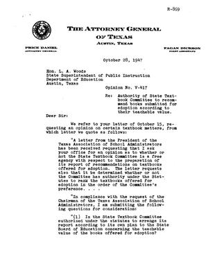 Primary view of object titled 'Texas Attorney General Opinion: V-417'.