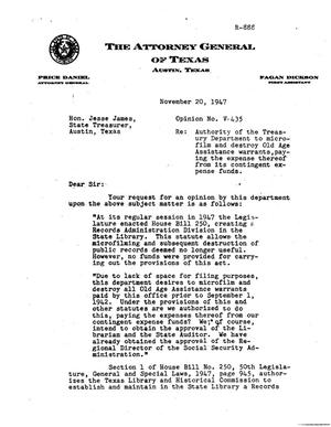 Primary view of object titled 'Texas Attorney General Opinion: V-435'.