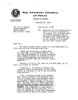 Primary view of object titled 'Texas Attorney General Opinion: V-487'.
