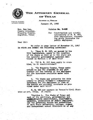 Primary view of object titled 'Texas Attorney General Opinion: V-488'.
