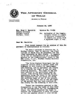 Primary view of object titled 'Texas Attorney General Opinion: V-489'.