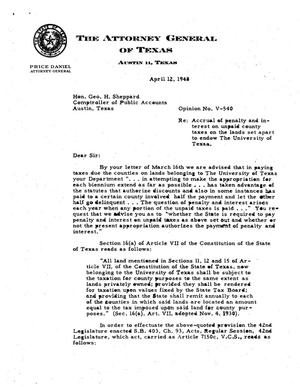 Primary view of object titled 'Texas Attorney General Opinion: V-540'.