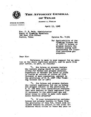 Primary view of object titled 'Texas Attorney General Opinion: V-541'.