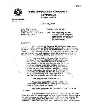 Primary view of object titled 'Texas Attorney General Opinion: V-544'.
