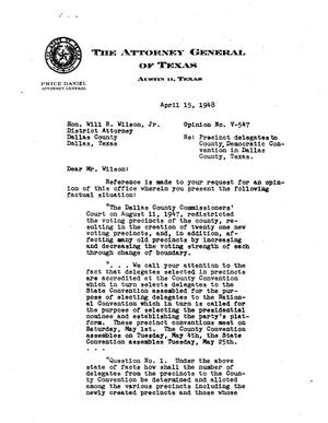 Primary view of object titled 'Texas Attorney General Opinion: V-547'.