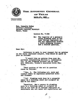 Primary view of object titled 'Texas Attorney General Opinion: V-549'.