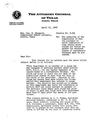 Primary view of object titled 'Texas Attorney General Opinion: V-551'.