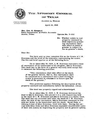 Primary view of object titled 'Texas Attorney General Opinion: V-552'.