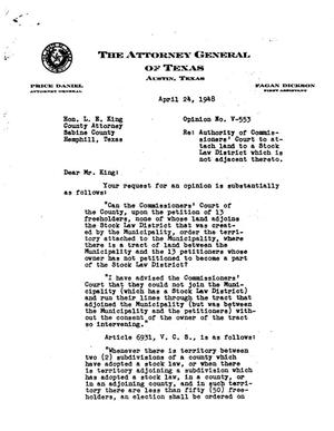 Primary view of object titled 'Texas Attorney General Opinion: V-553'.