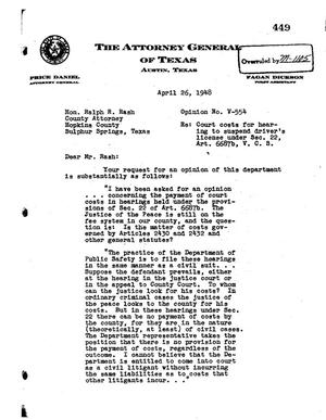 Primary view of object titled 'Texas Attorney General Opinion: V-554'.