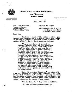 Primary view of object titled 'Texas Attorney General Opinion: V-560'.
