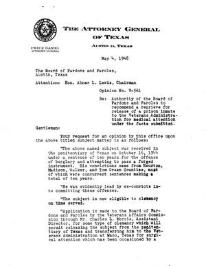 Primary view of object titled 'Texas Attorney General Opinion: V-561'.