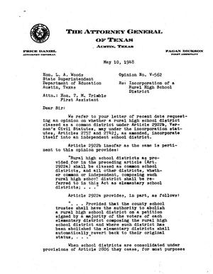 Primary view of object titled 'Texas Attorney General Opinion: V-562'.