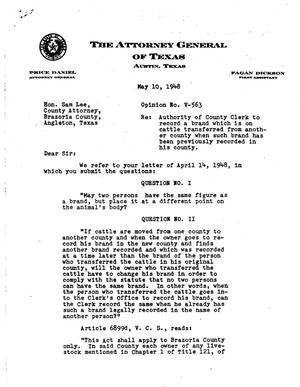 Primary view of object titled 'Texas Attorney General Opinion: V-563'.