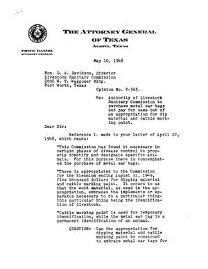 Primary view of object titled 'Texas Attorney General Opinion: V-565'.