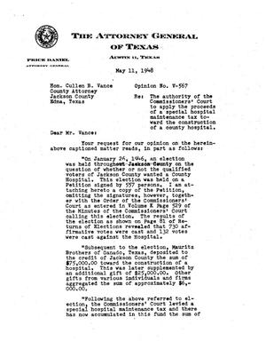 Primary view of object titled 'Texas Attorney General Opinion: V-567'.