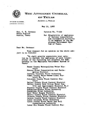 Primary view of object titled 'Texas Attorney General Opinion: V-569'.