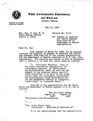 Primary view of object titled 'Texas Attorney General Opinion: V-571'.
