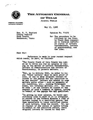 Primary view of object titled 'Texas Attorney General Opinion: V-575'.