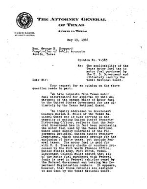 Primary view of object titled 'Texas Attorney General Opinion: V-583'.