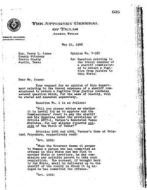 Primary view of object titled 'Texas Attorney General Opinion: V-587'.