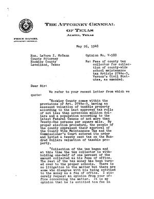 Primary view of object titled 'Texas Attorney General Opinion: V-588'.