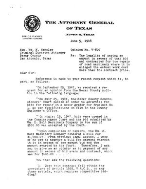 Primary view of object titled 'Texas Attorney General Opinion: V-600'.