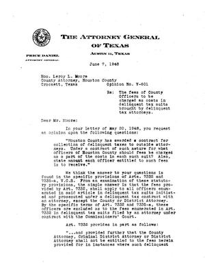 Primary view of object titled 'Texas Attorney General Opinion: V-601'.