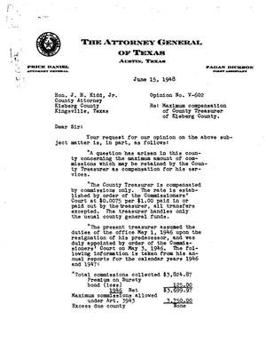 Primary view of object titled 'Texas Attorney General Opinion: V-602'.