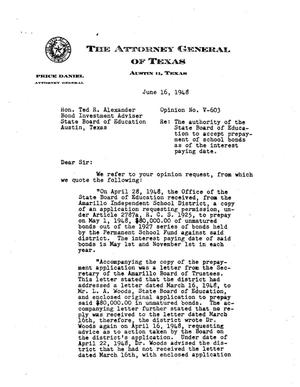 Primary view of object titled 'Texas Attorney General Opinion: V-603'.