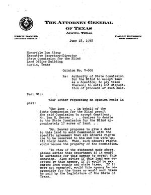 Primary view of object titled 'Texas Attorney General Opinion: V-609'.