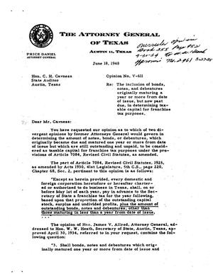Primary view of object titled 'Texas Attorney General Opinion: V-611'.