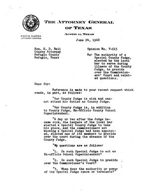 Primary view of object titled 'Texas Attorney General Opinion: V-615'.