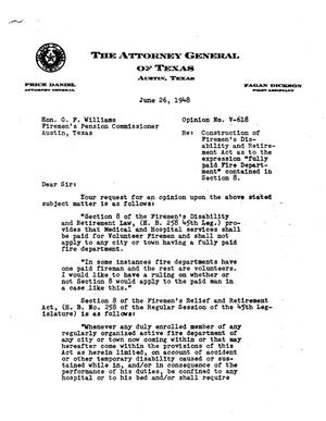 Primary view of object titled 'Texas Attorney General Opinion: V-618'.